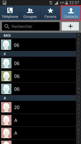 contact code pin ecran verrouillage Samsung (android 4.4) contact