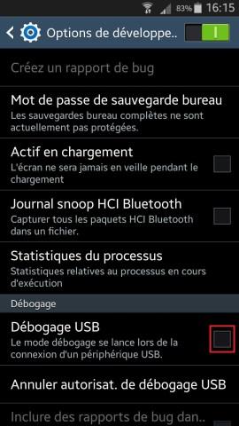Samsung debogage USB