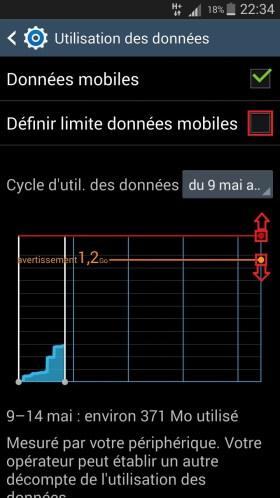 internet Samsung android 4 internet utilisation des données cycle 2