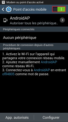 internet Samsung android 4 modem activer 3