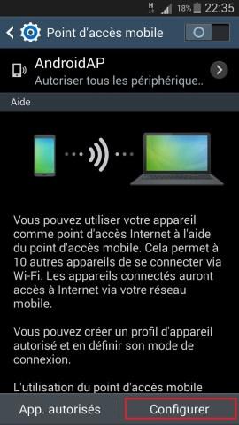 internet Samsung android 4 modem configurer