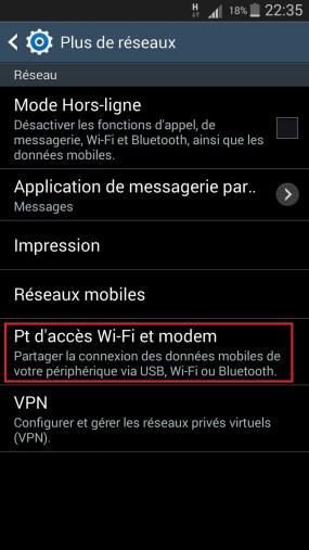 internet Samsung android 4 modem