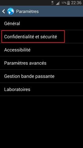 internet Samsung android 4 navigateur confidentialité