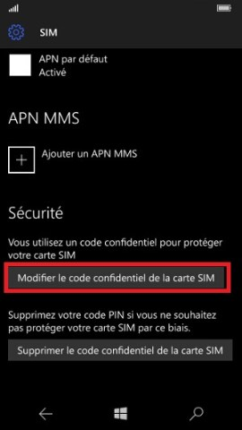 contact code pin ecran verrouillage Microsoft Nokia Lumia (Windows 10) code pin modif