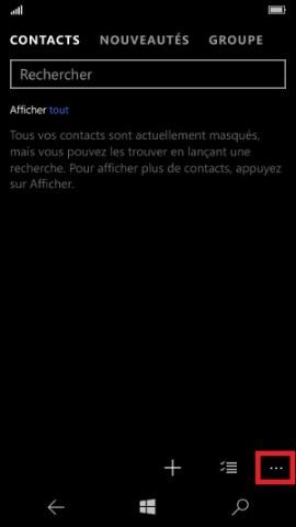 contact code pin ecran verrouillage Microsoft Nokia Lumia (Windows 10) contact 2