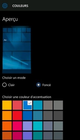 Personnalisation Lumia windows 10