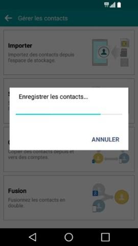 contact code pin ecran verrouillage LG android 5.1 contact copie