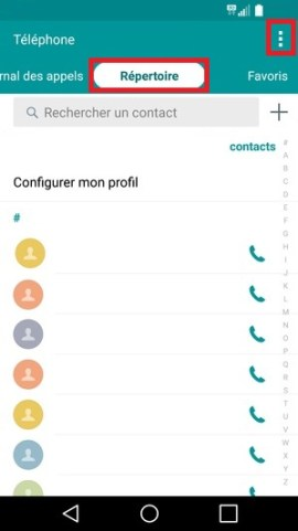 contact code pin ecran verrouillage LG android 5.1 copier contact