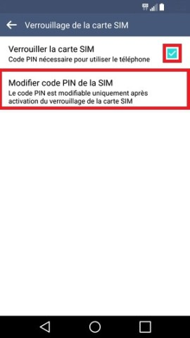 contact code pin ecran verrouillage LG android 5.1 securite modifier code pin