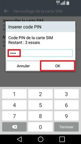 contact code pin ecran verrouillage LG android 5.1 code pin 4