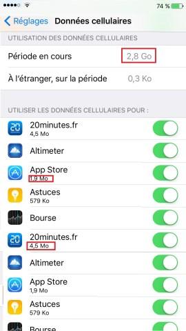 internet iPhone 6 6S plus SE consommation