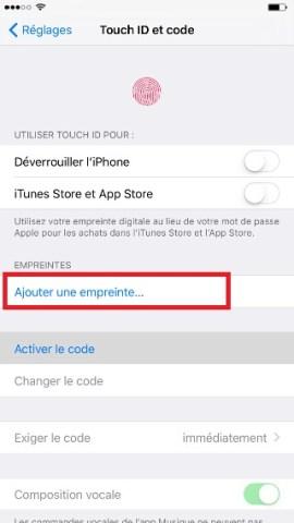 contact code pin ecran verrouillage iPhone 6 empreinte