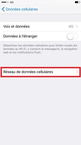 MMS iPhone 6, 6S, Plus, SE réseau de données cellulaires