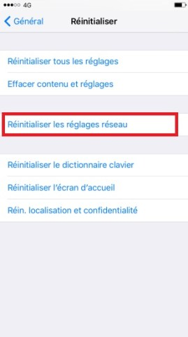 internet iPhone 6 6S plus SE réinitialiser les réglages réseau