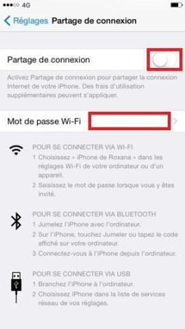 internet iPhone 6 6S plus SE partage de connexion