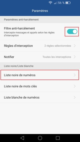 SMS Huawei android 6 . 0 anti spam 2