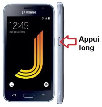 Samsung Galaxy J1 2016 allumage