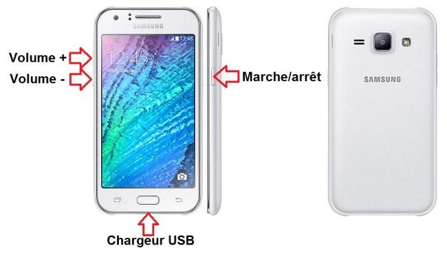 Samsung Galaxy J1 bouton