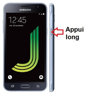 Samsung Galaxy J3 2016 allumage