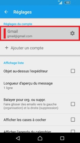 mail Sony android 7.0 compte mail selection