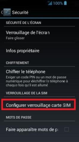 contact code pin ecran verrouillage Acer android 4.2 configurer blocage SIM