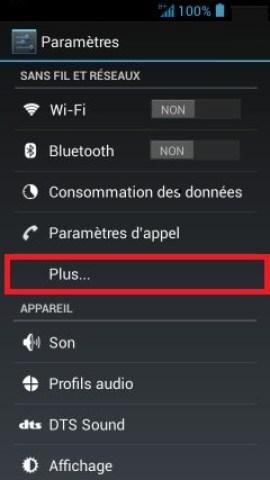 Échec réseau appel Acer android 4 parametre plus