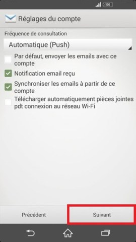 mail Sony android 4.4 mail notification