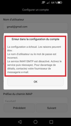 mail Huawei message erreur