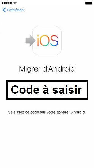 Transférer ses données iPhone-code-a-saisir