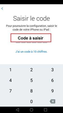 Transférer ses données iPhone-code