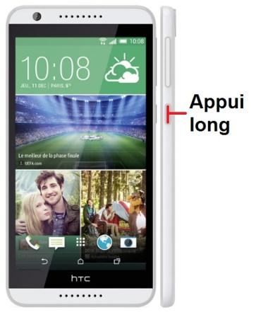 HTC desire 820-allumage