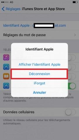 Compte apple déconnexion