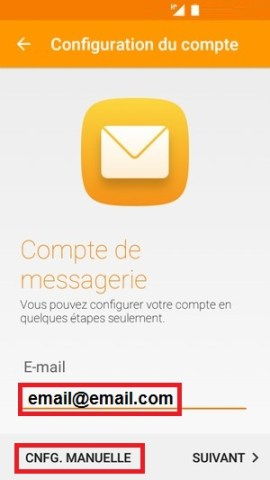 mail Alcatel android 6.0 email config manuel
