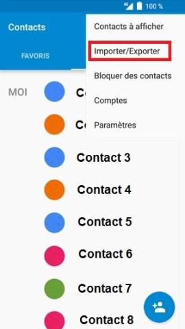 contact code pin ecran verrouillage Alcatel android 6.0 importer exporter