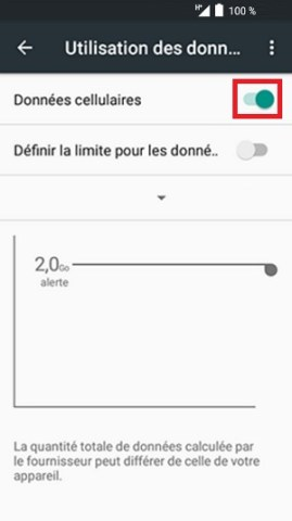 internet Alcatel android 6.0 données cellulaires activé