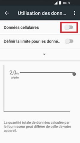 internet Alcatel android 6.0 données cellulaires désactivé