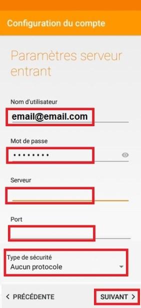 mail Alcatel android 6.0 paramètres serveur entrant