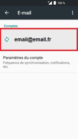 mail Alcatel android 6.0 adresse email selection