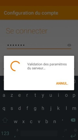 mail Alcatel android 6.0 validation des paramètres email