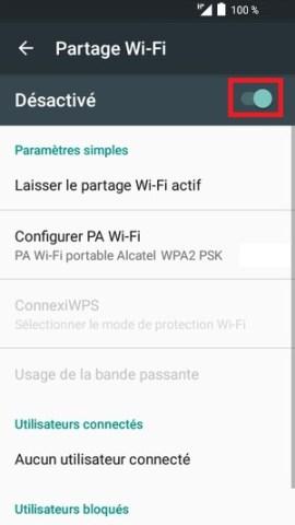 internet Alcatel android 6.0 partage activé