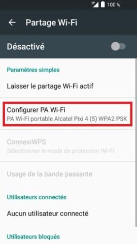 internet Alcatel android 6.0 configurer partage