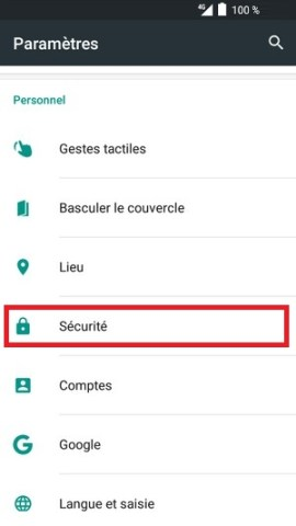 contact code pin ecran verrouillage Alcatel android 6.0 sécurité