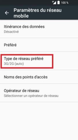 internet Alcatel android 6.0 type de réseau