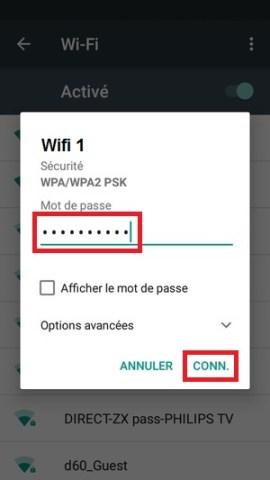 internet Alcatel android 6.0 wifi mot de passe