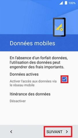 Activation Alcatel données mobiles