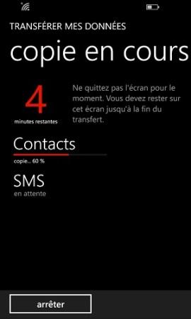 Transférer ses données Lumia contacts