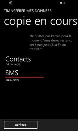 Transférer ses données Lumia copie en cours