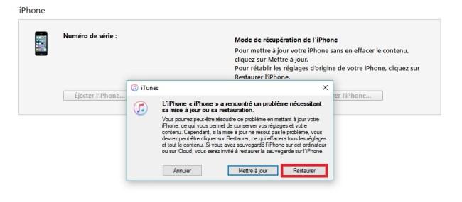 Mode récupération iphone 7 restaurer