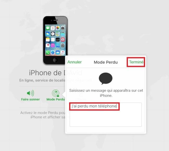 iPhone perdu ou volé mode perdu messages