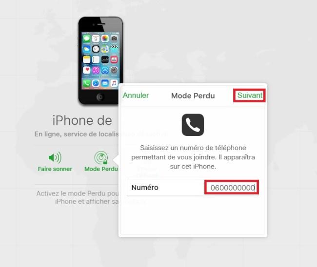 iPhone perdu ou volé mode perdu numéro